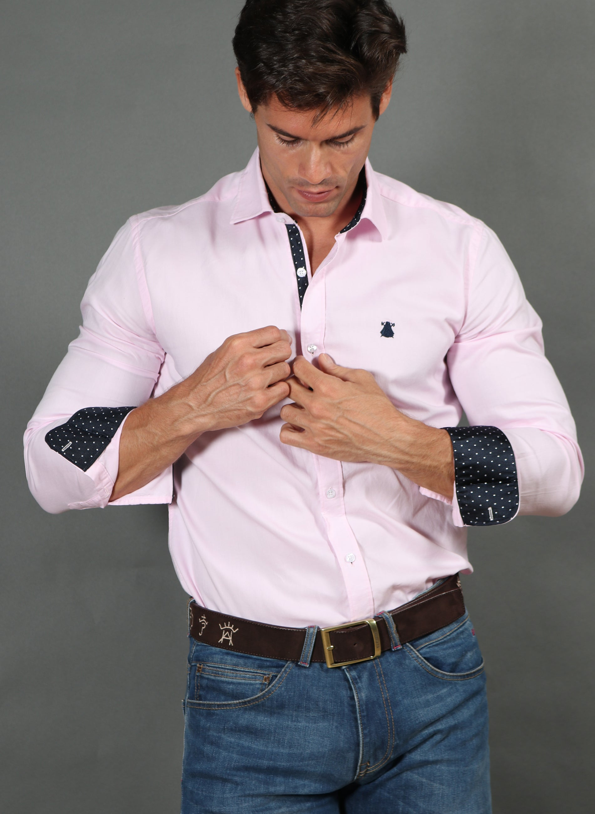 Roze Oxford shirt man