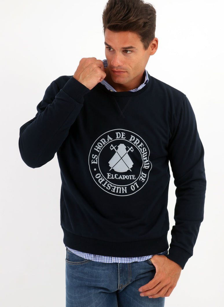 Navy Blue Slogan Box Neck Sweatshirt