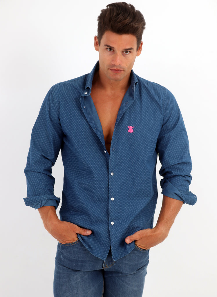 Blue Denim Shirt Man Structure