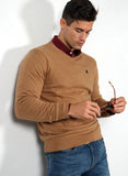 Man Tan Brown V-Neck Sweater