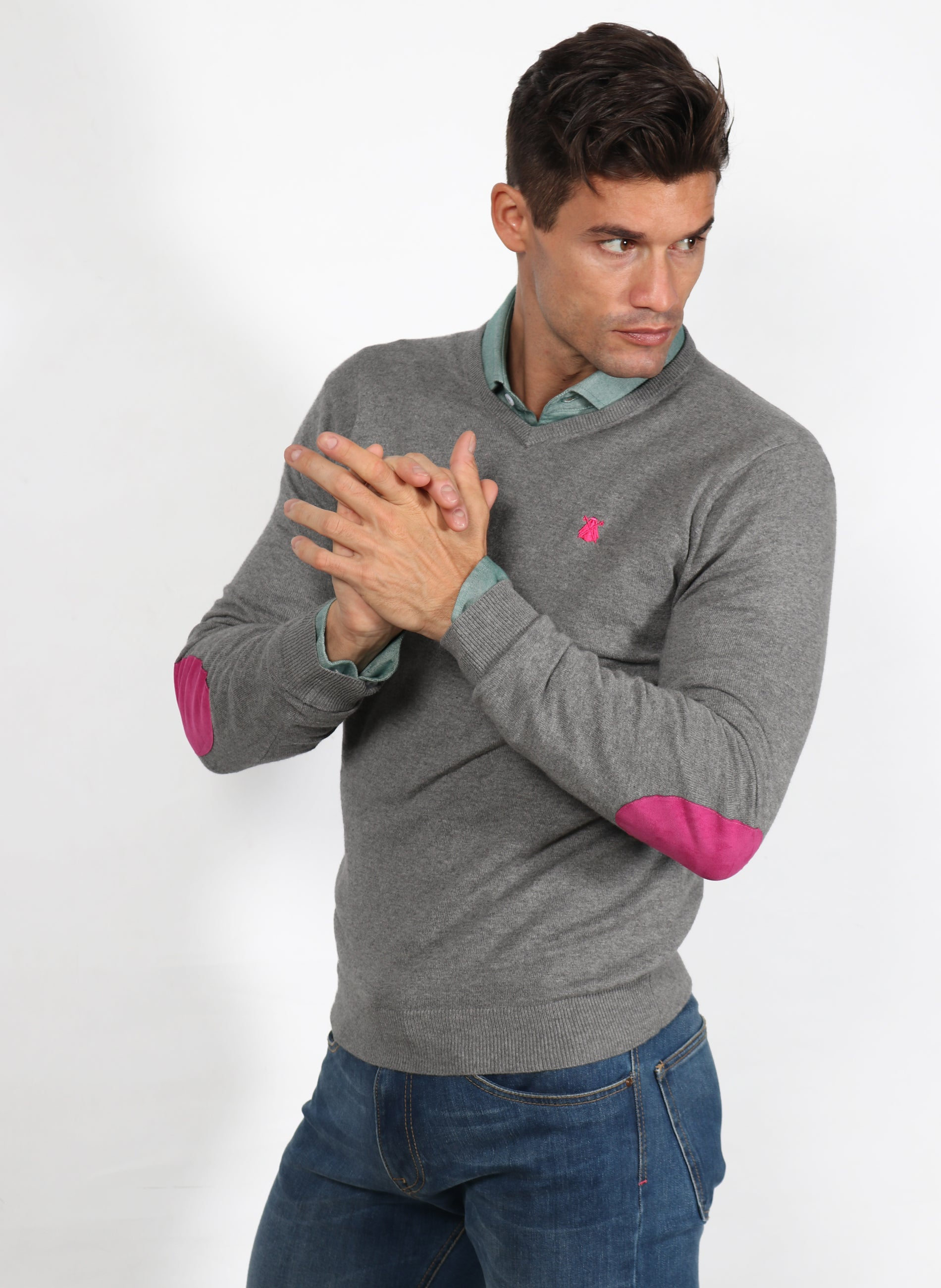 Men's Gray V-Neck Sweater Elbow Patches