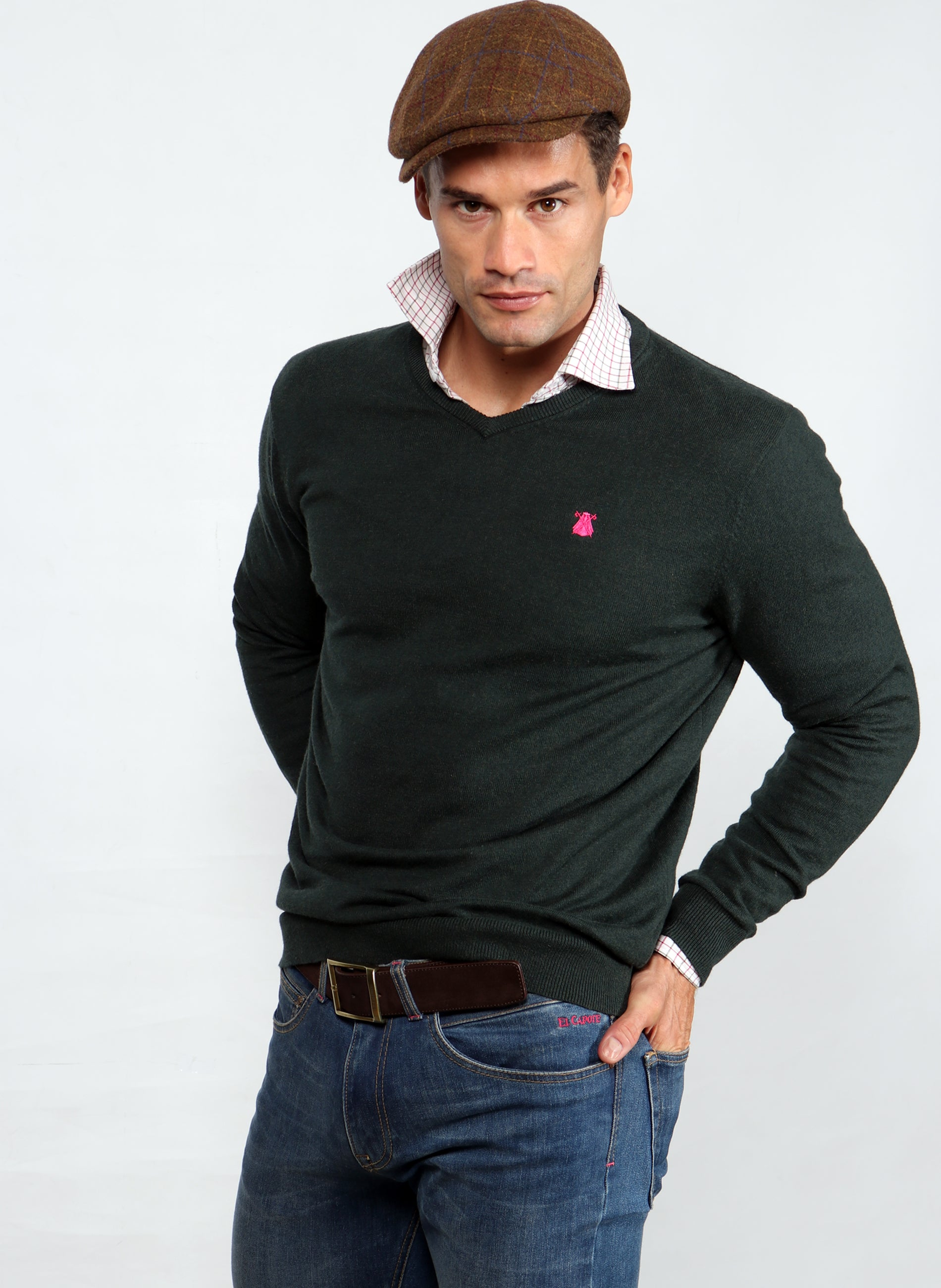 Green V-neck Sweater Man