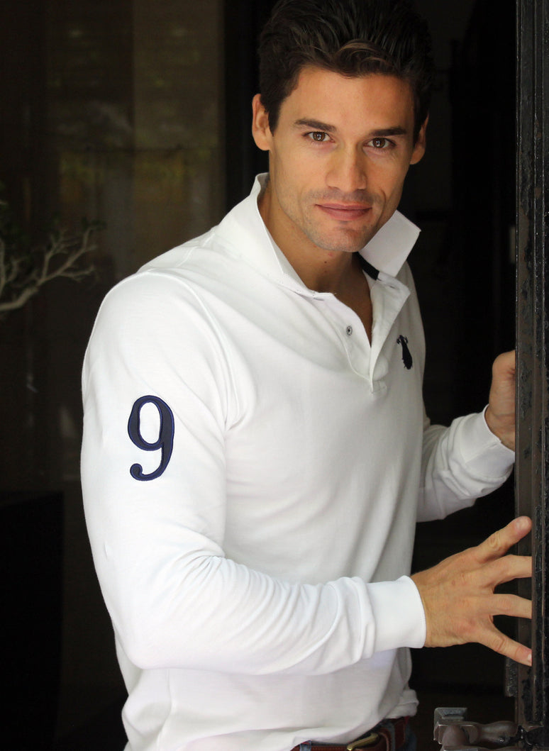 White Polo Long Sleeve Number 9