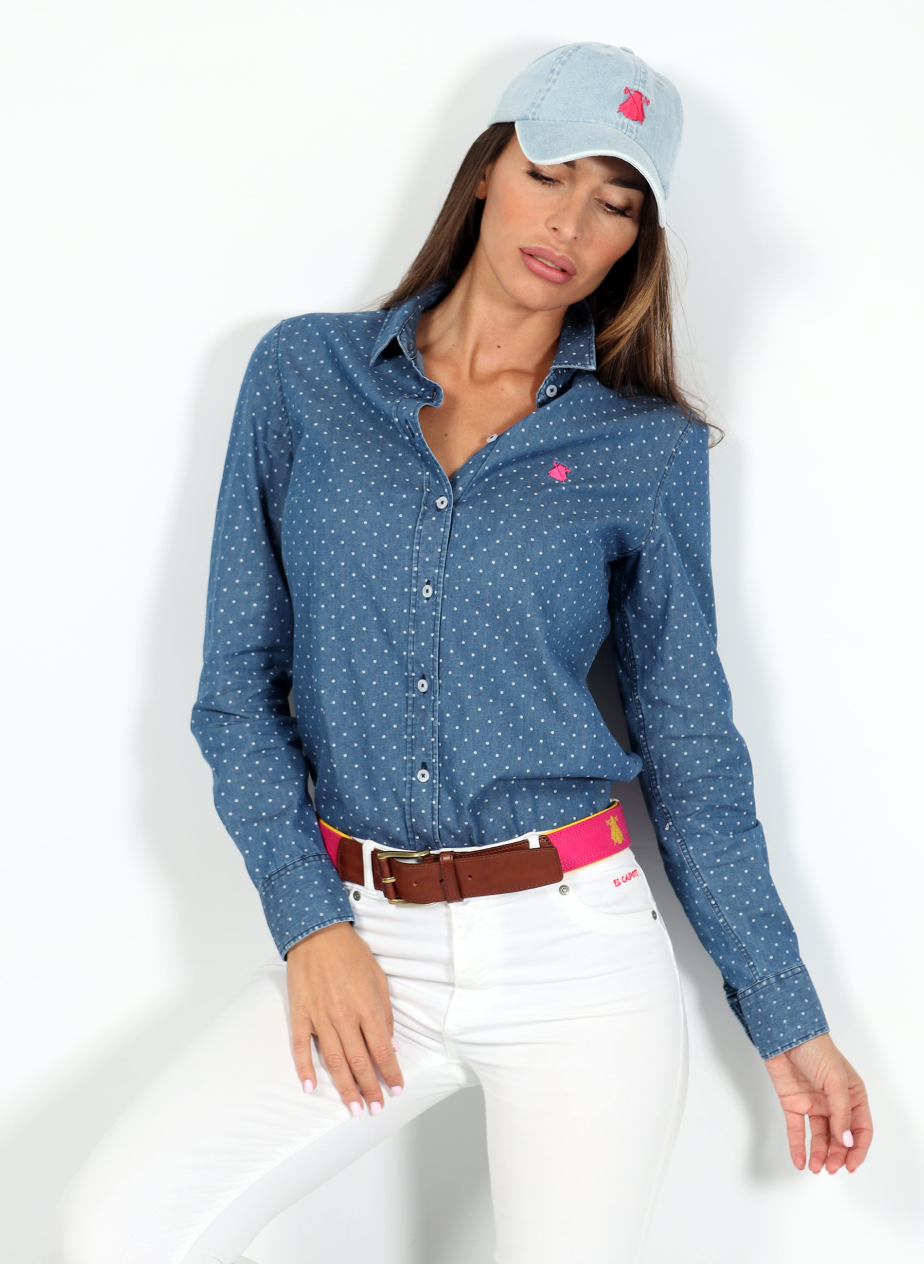 White Polka Dot Woman Shirt