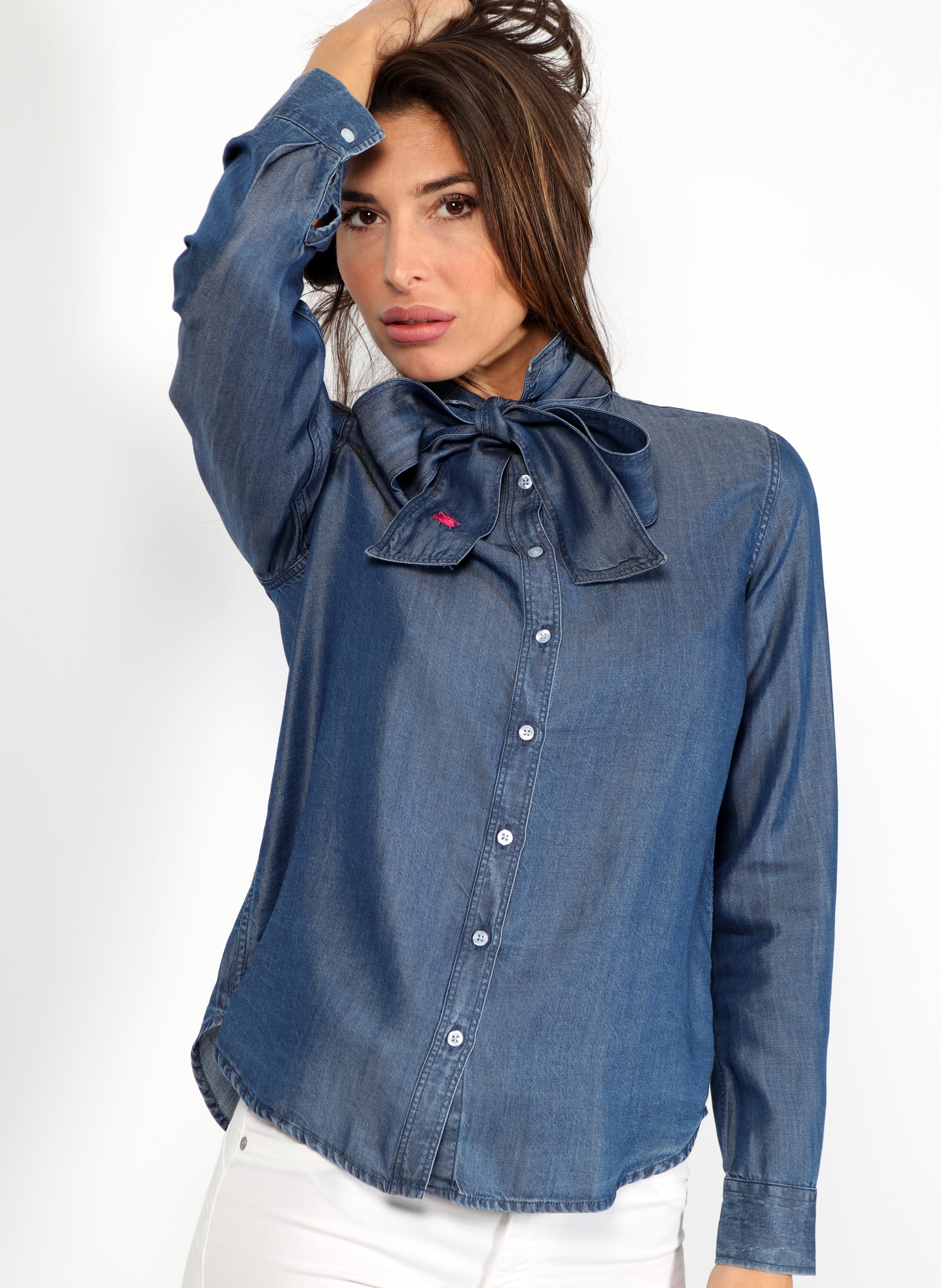 Women's Denim Shirt with Bow