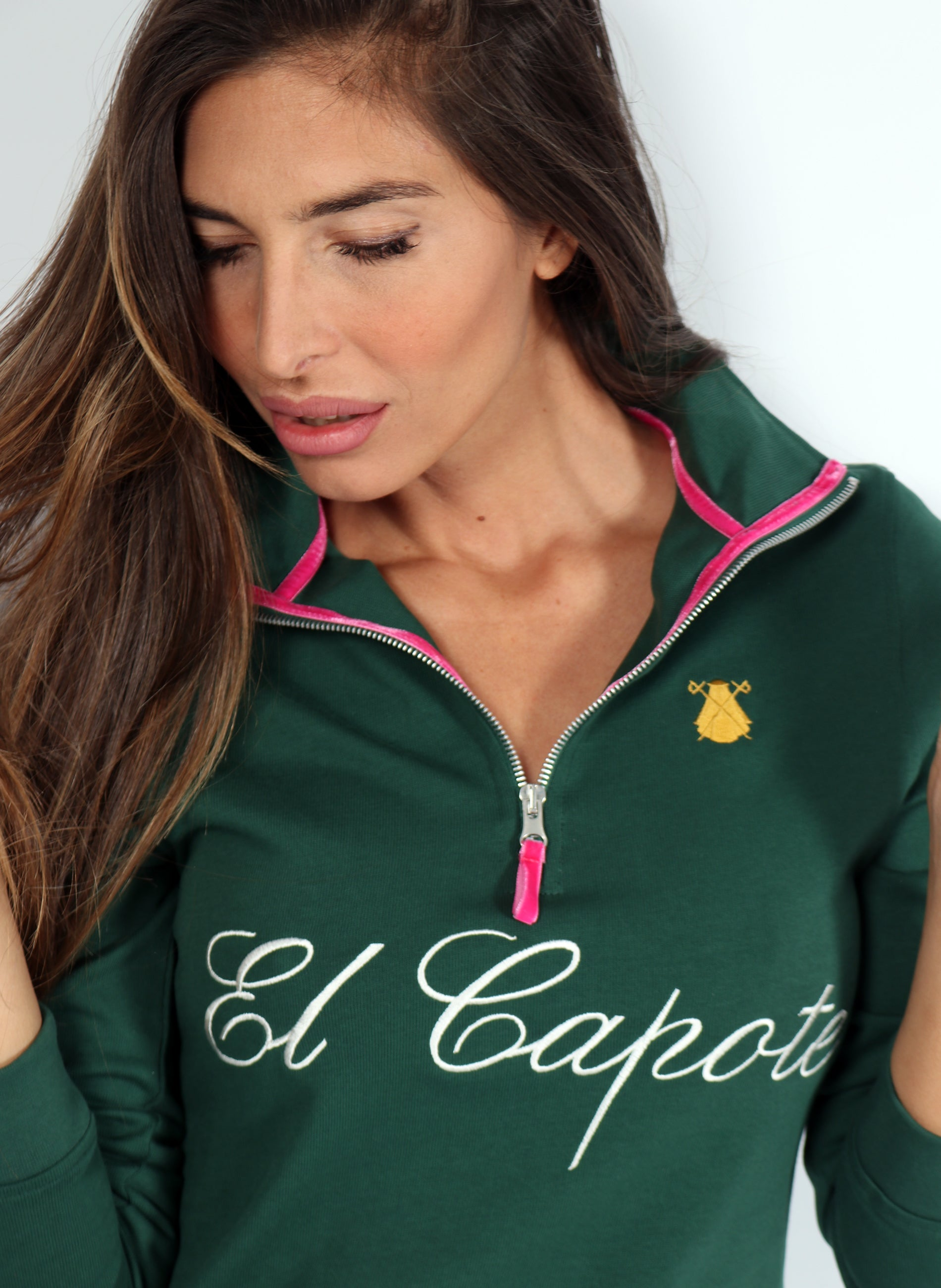Green Zip Woman Polo