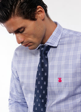 BLUE MEN'S SHIRT PRINCE OF WALES