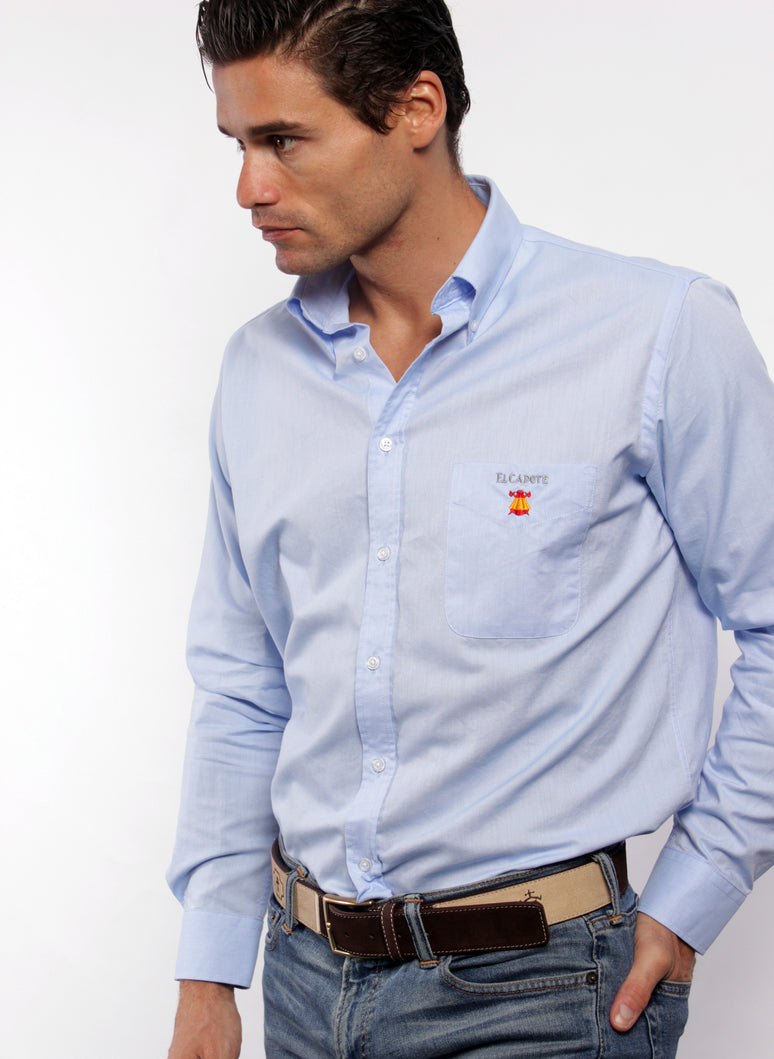 BLAUWE SHIRT OXFORD HALSKNOP