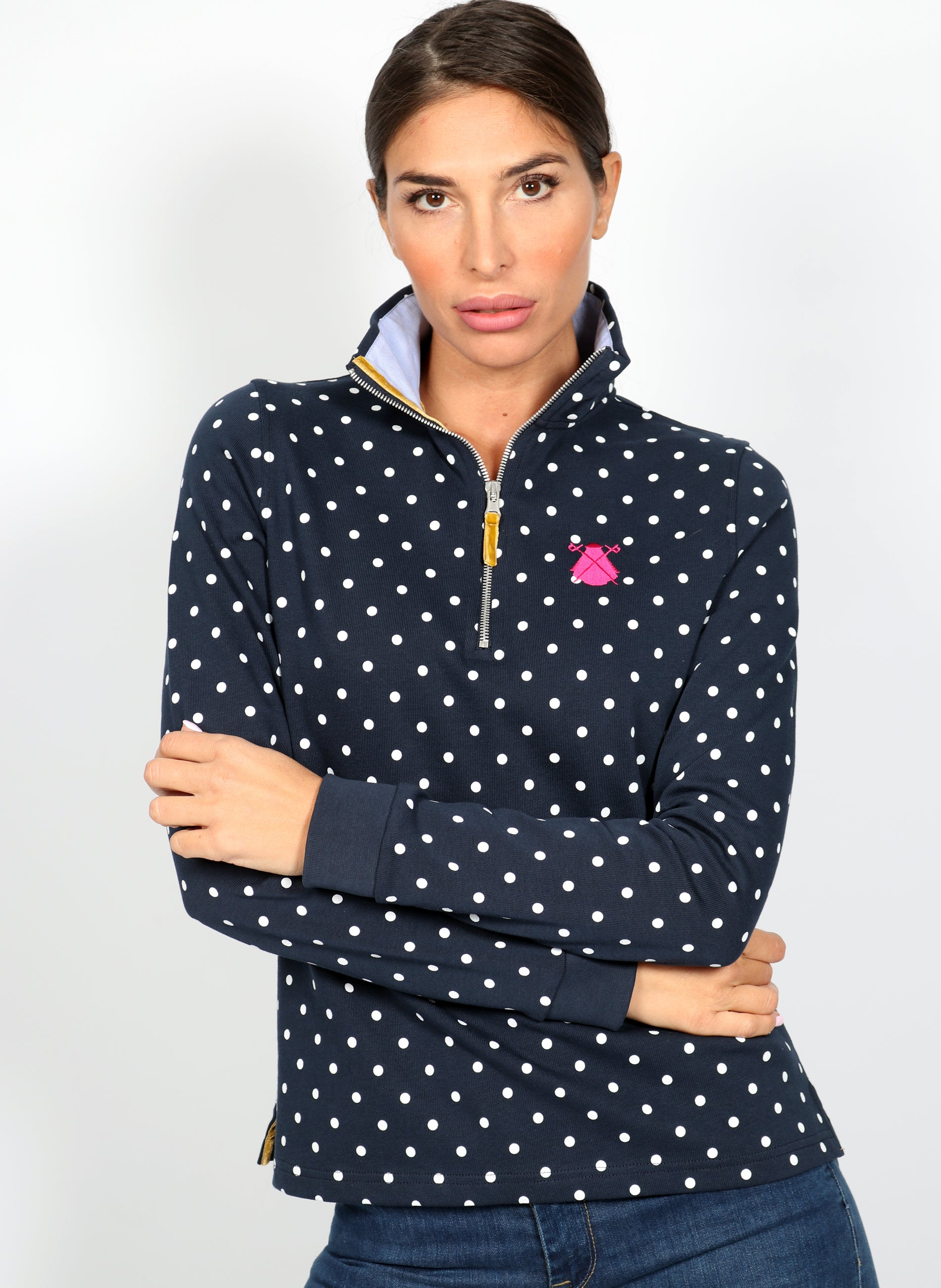 Polka Dot Zip Woman Polo