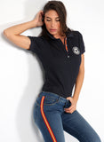 Spanien Frauen Blue Granulated Polo