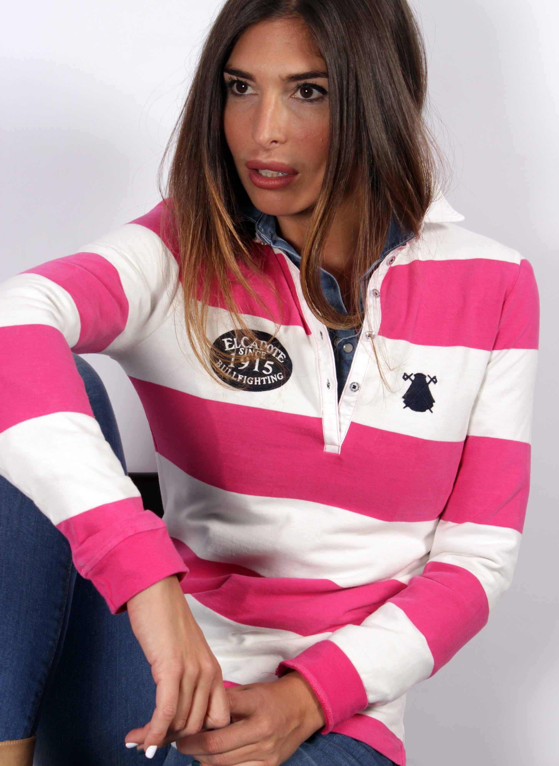 RUGBY POLO WOMAN WHITE STRIPES AND ROSES
