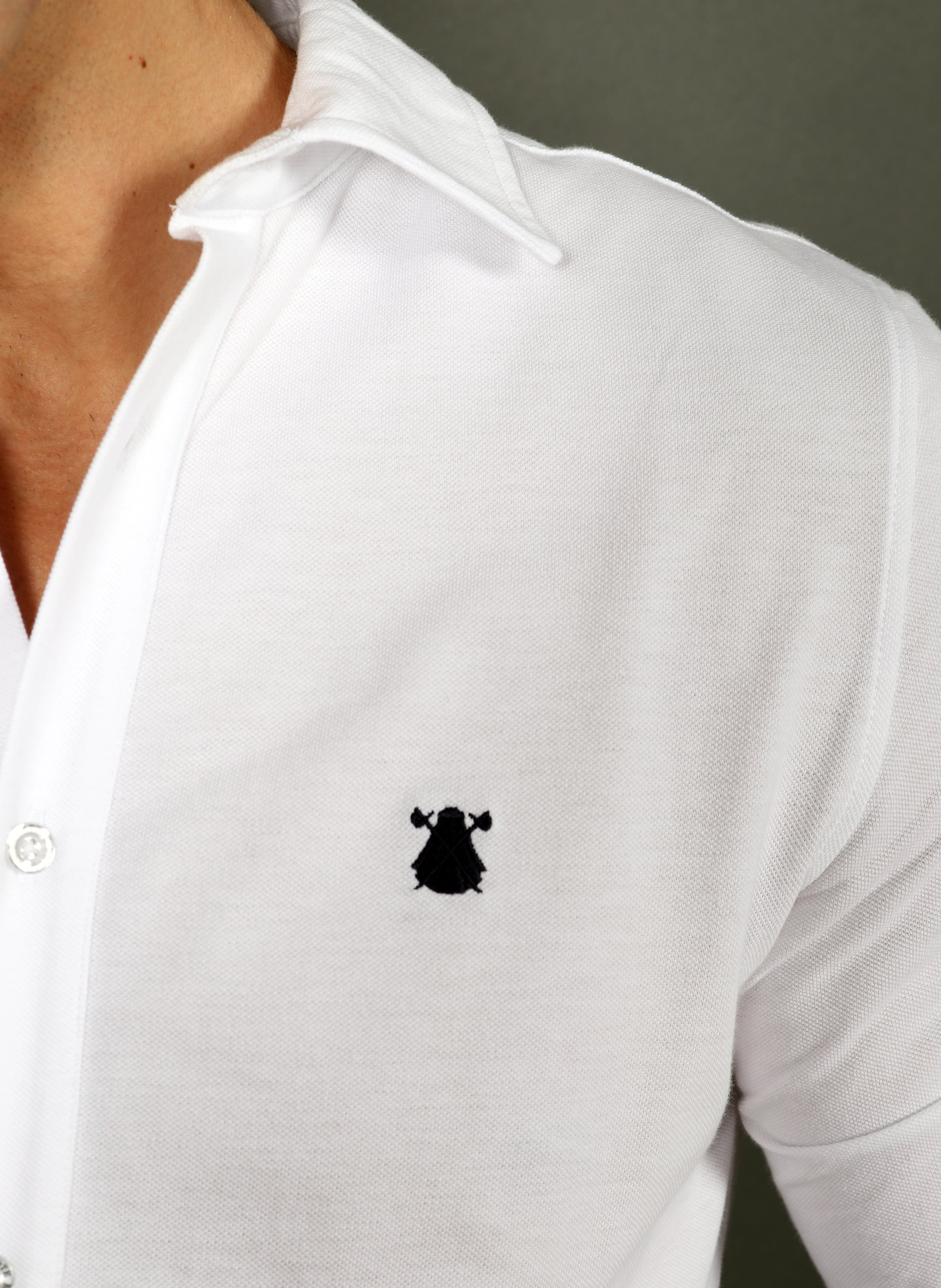 Men's White Piqué Shirt with Elbow Patches