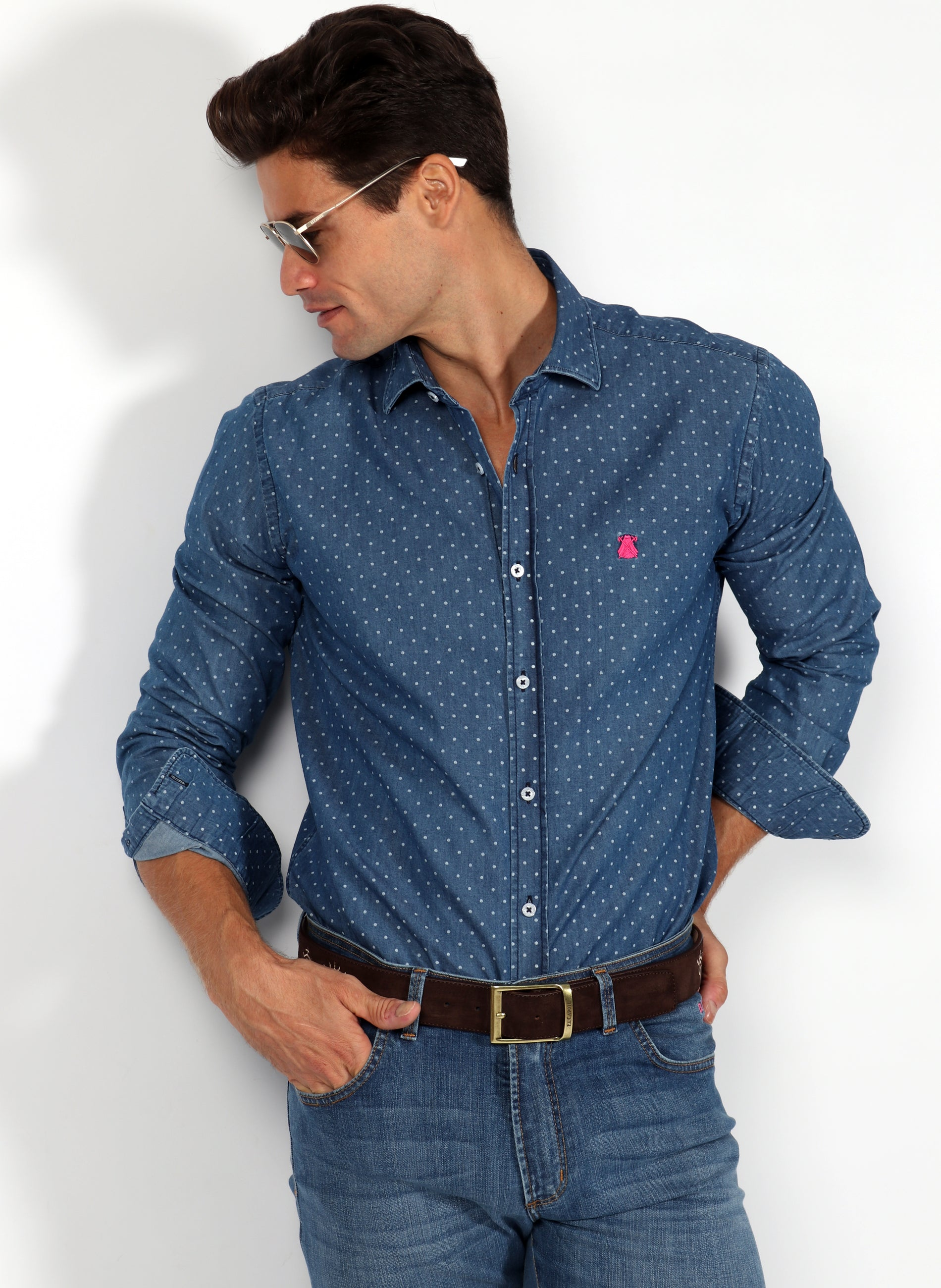 Men's Shirt Denim Polka Dots