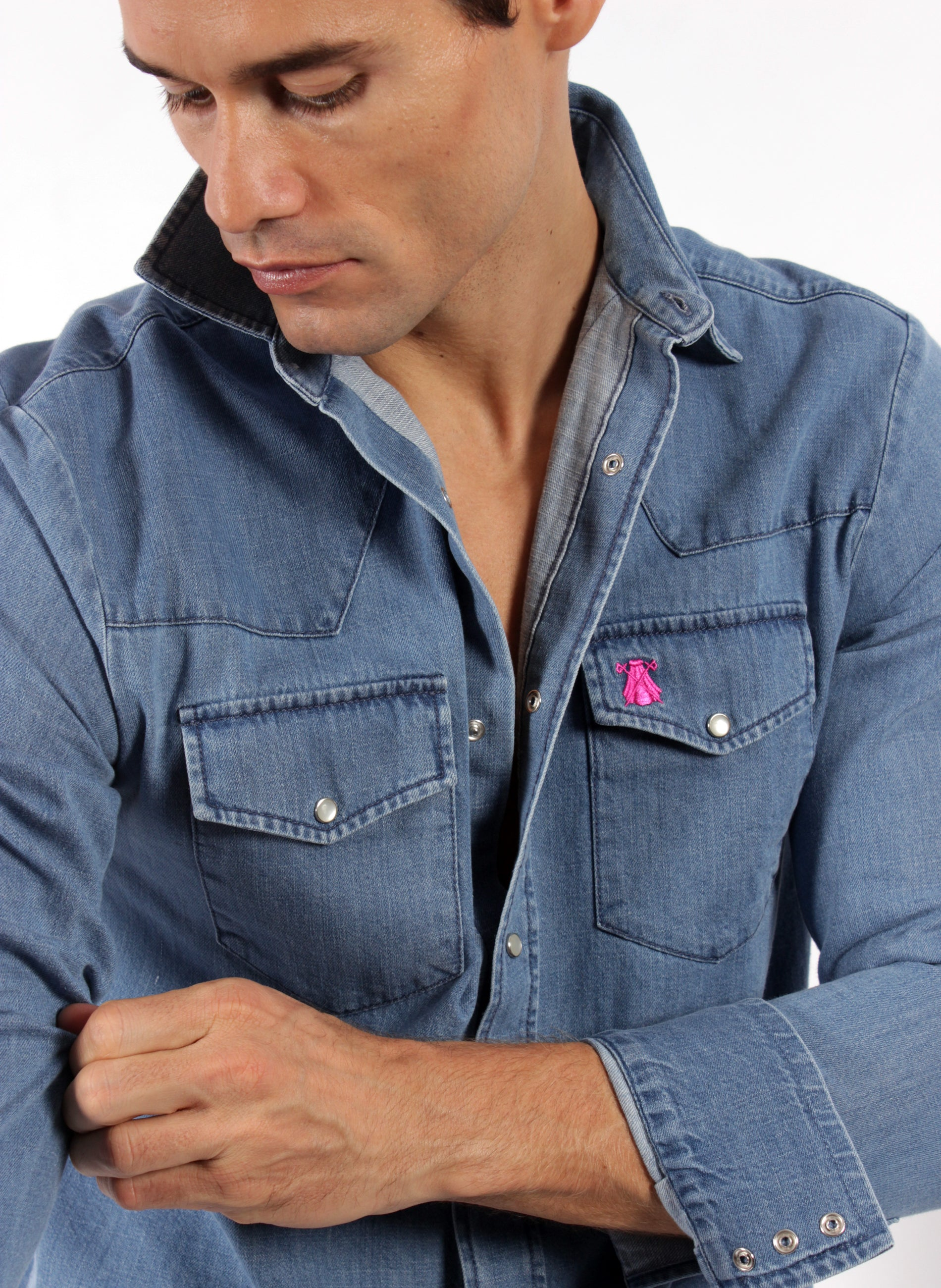SHIRT HEREN DENIM ZAKKEN