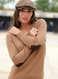 Woman Sweater Tan Brown Elbow Patches