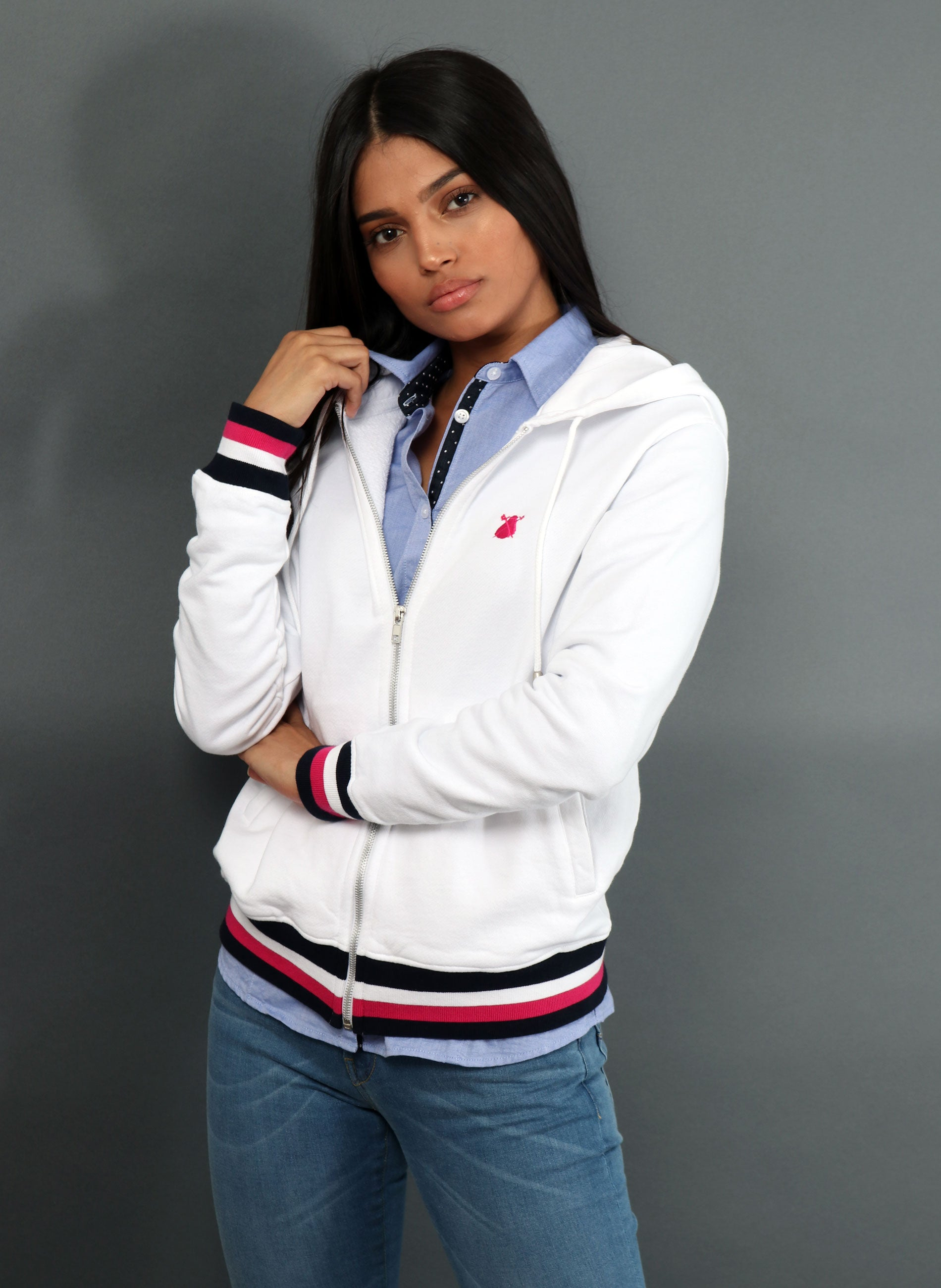 White Hoodie and Zip Women's