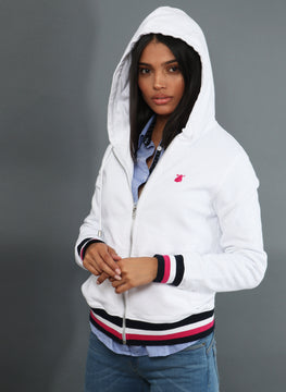 Sweat à capuche blanc et zip