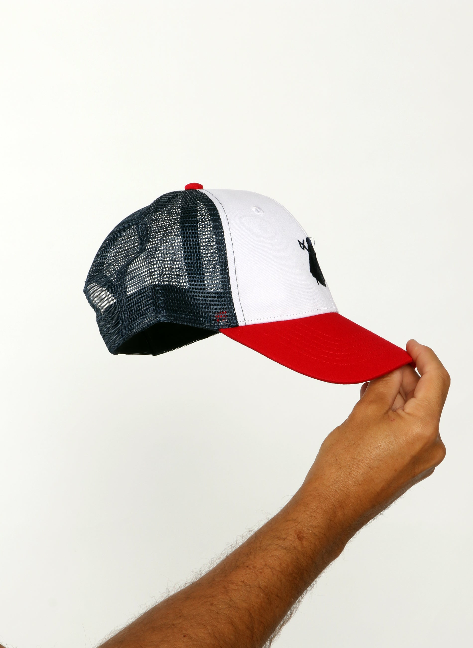 Blue Mesh Cap with Red Visor