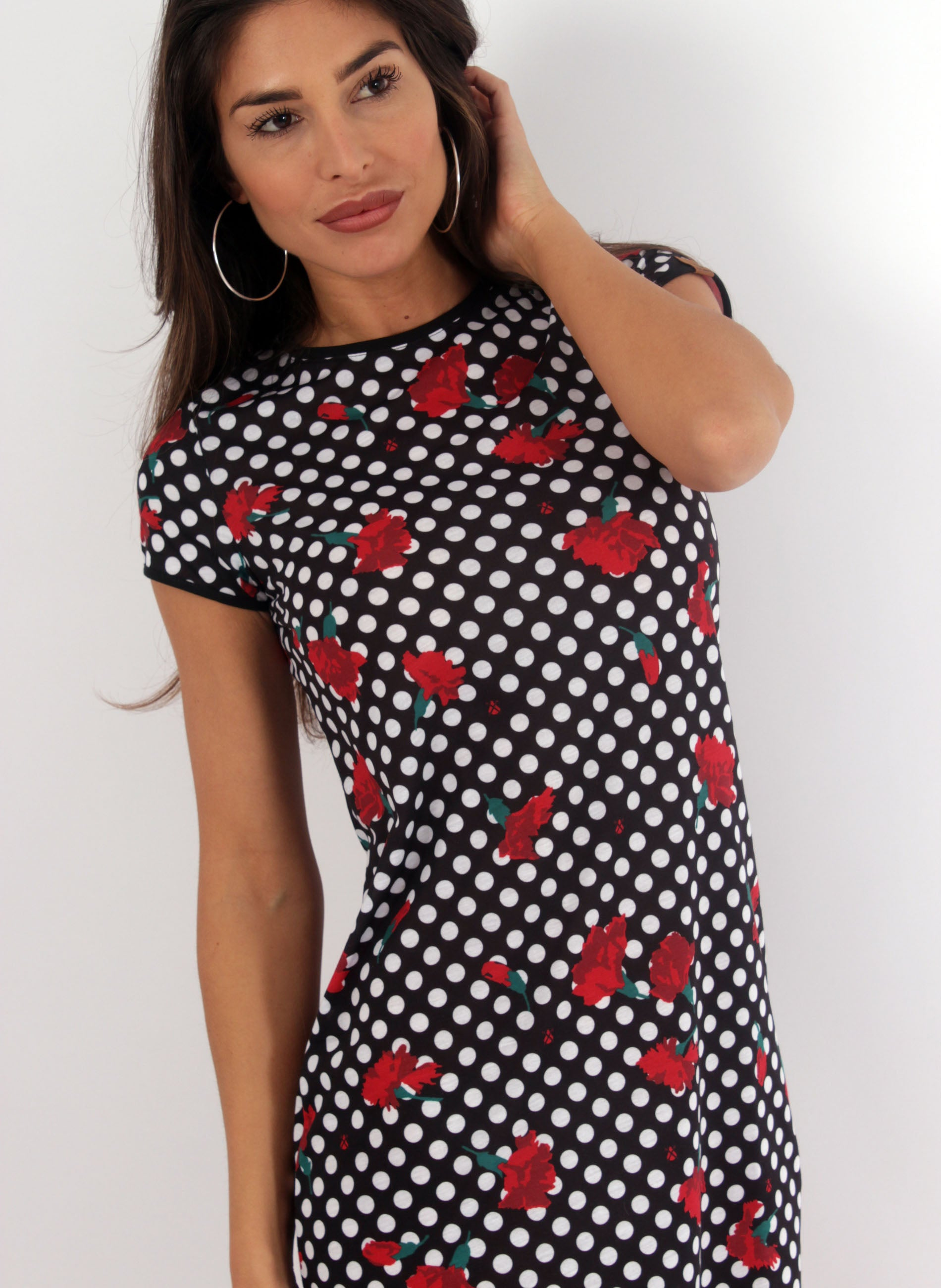 Black Dress White Polka Dots Woman