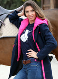 Women's Navy Blue Hoodie Coat