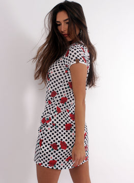 Black Polka Dot White Dress