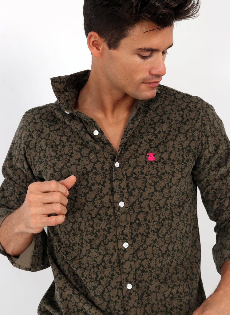 Shirt Man Micro Corduroy Fine Brown Flowers