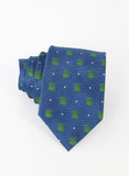 Light Blue Tie Green and White Polka Dots