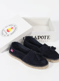 Navy Blue Split Leather Espadrilles with Tassels