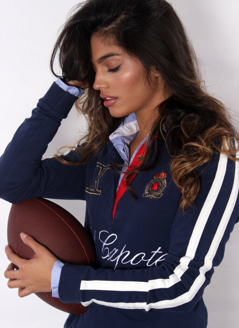 POLO RUGBY NAVY BLAUWE VROUW