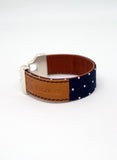 Bracelet Men's Fabric Navy Blue White Polka Dots