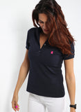 Women's Blue Polka Dot Polo