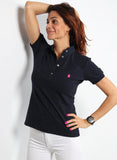 Blue Polka Dot Polo für Damen