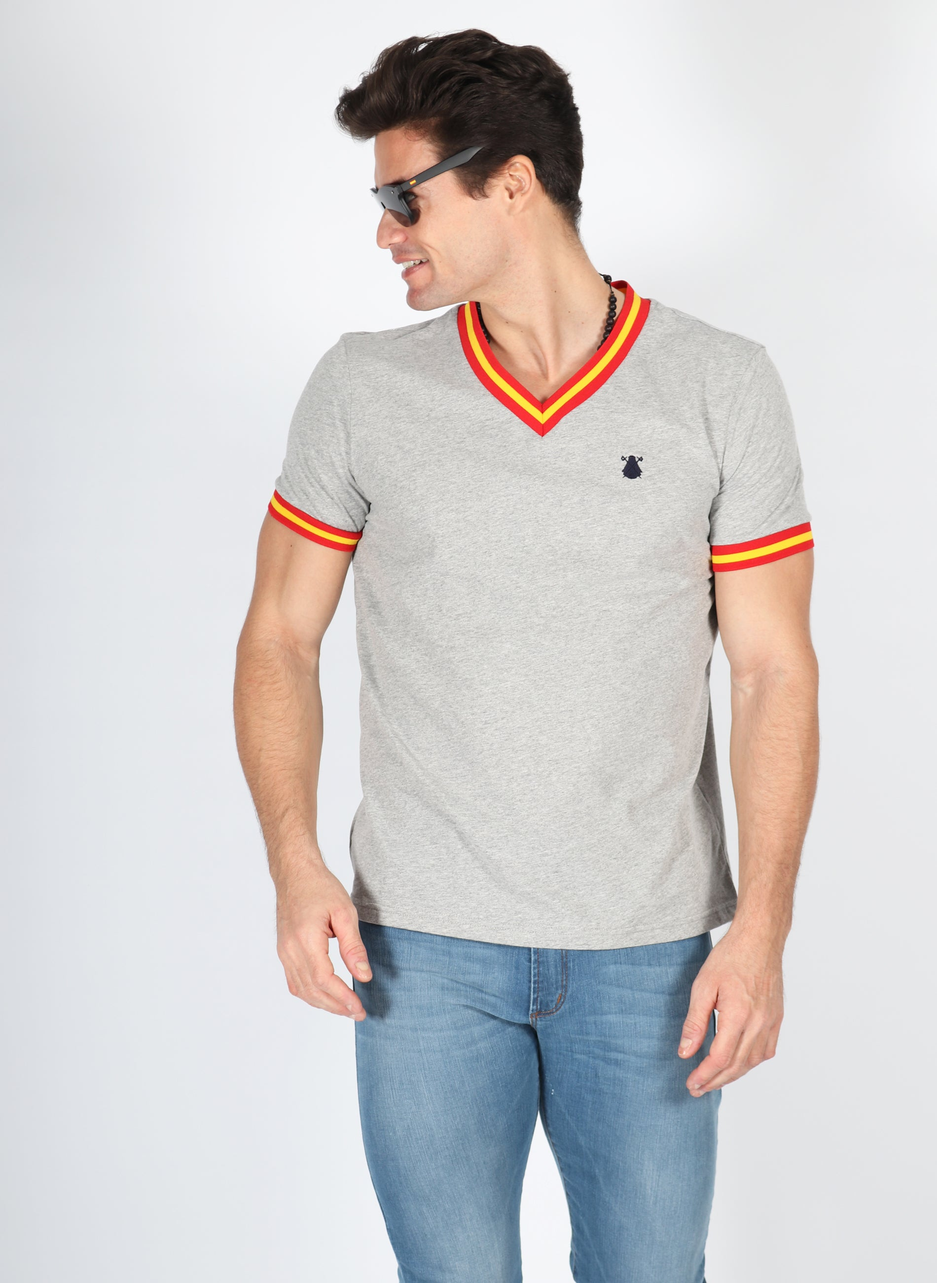 Spain Men's Gray Ribbon Peak T-shirt