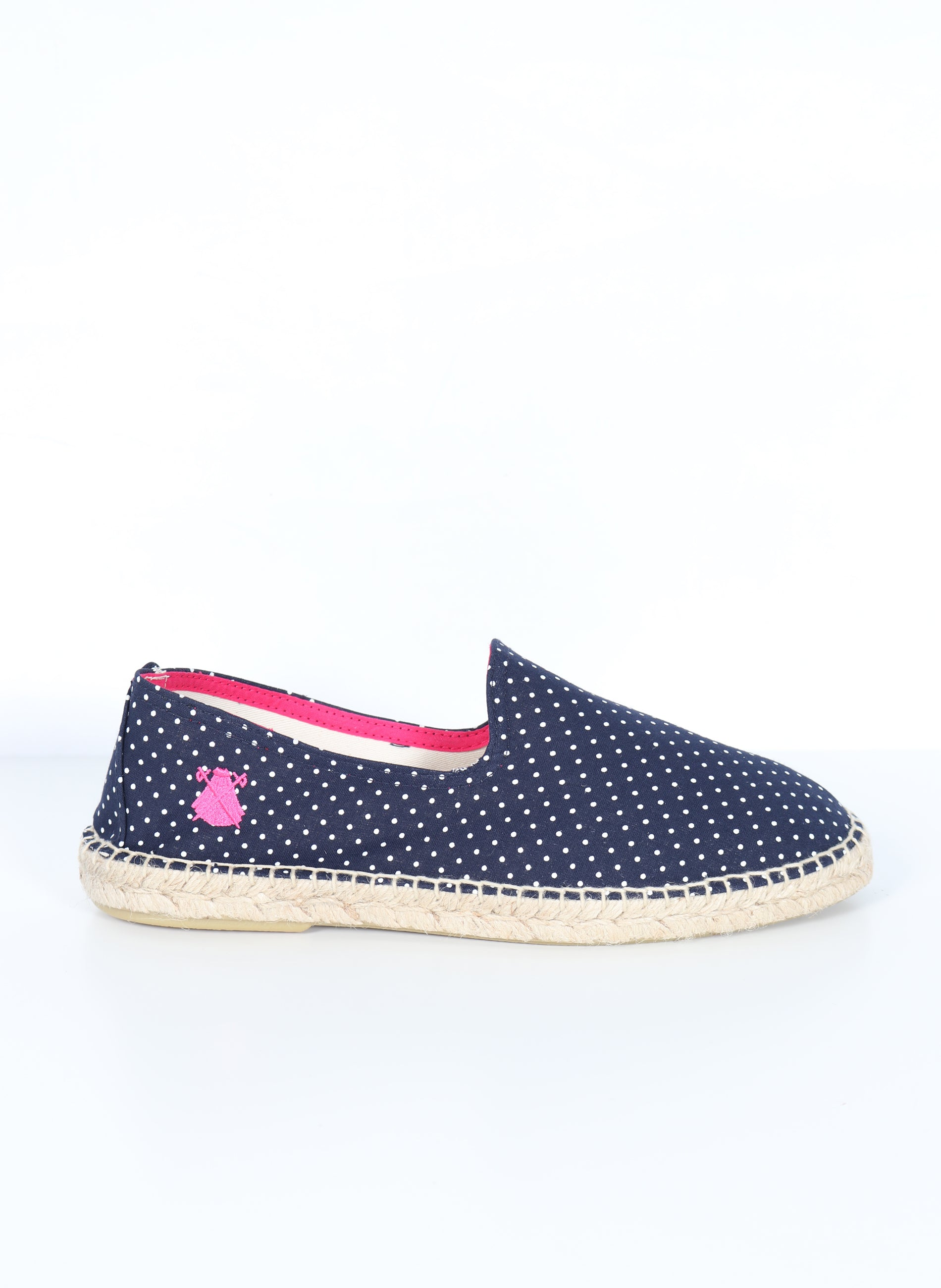 Espadrilles Man Navy Blue White Polka Dots