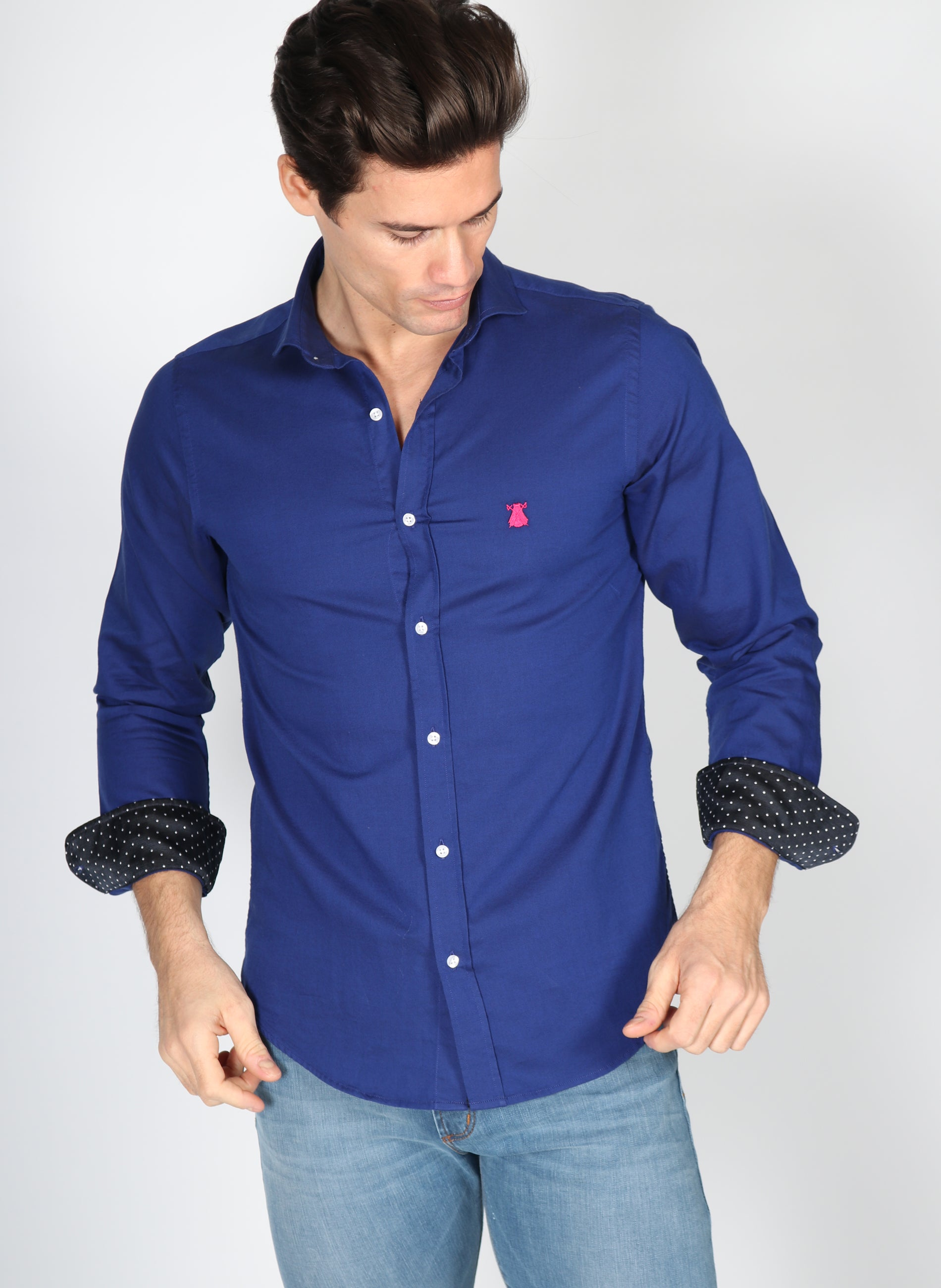 Blue Ink Polka Dot Shirt