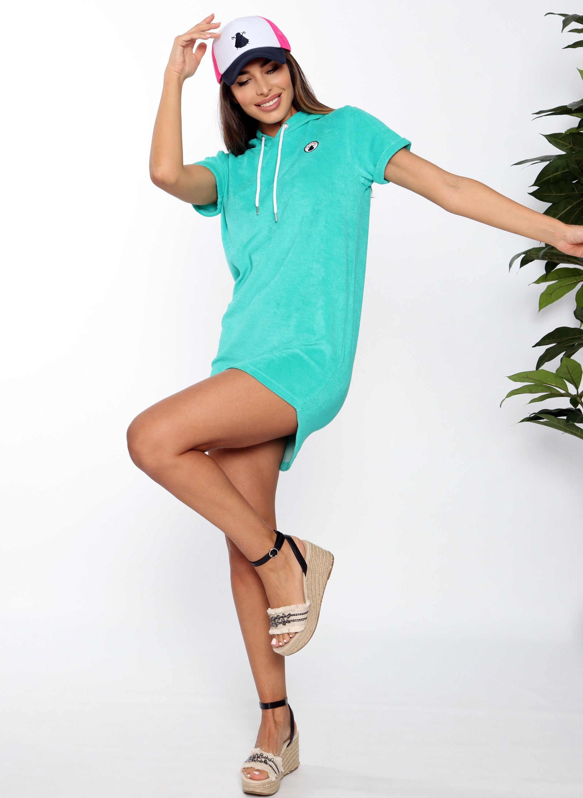 Turquoise Hooded Towel Dress Woman