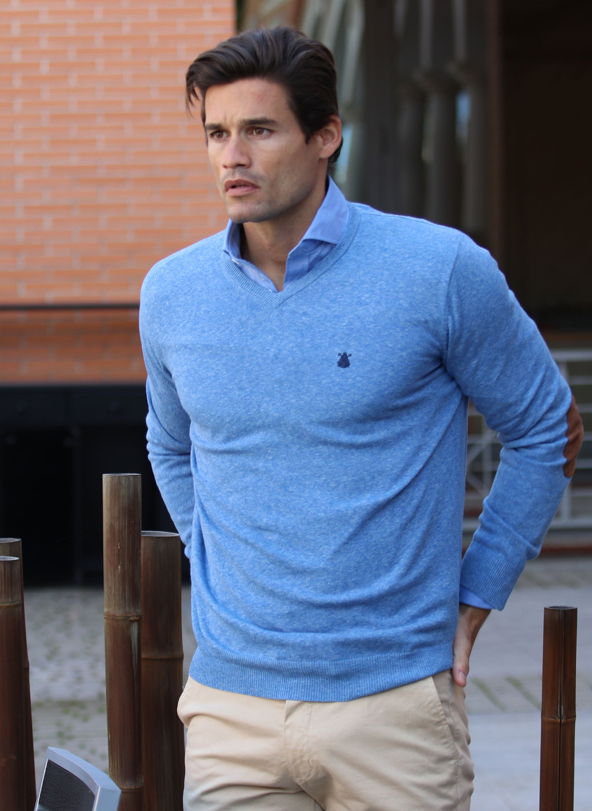 Men's Blue V-Neck Sweater Elbow Patches