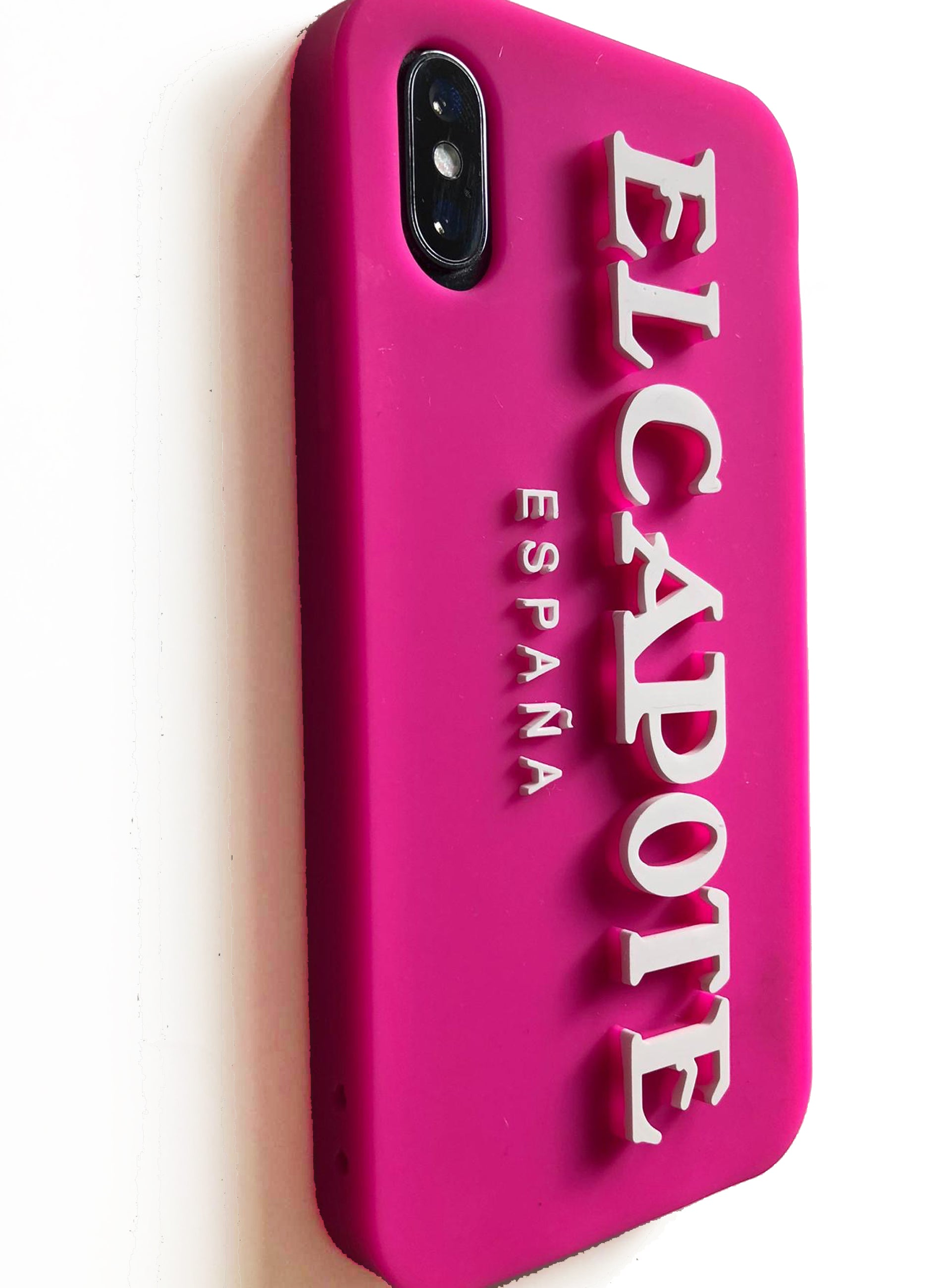 Pink Silicone Capote Iphone Case with Embossed Letters