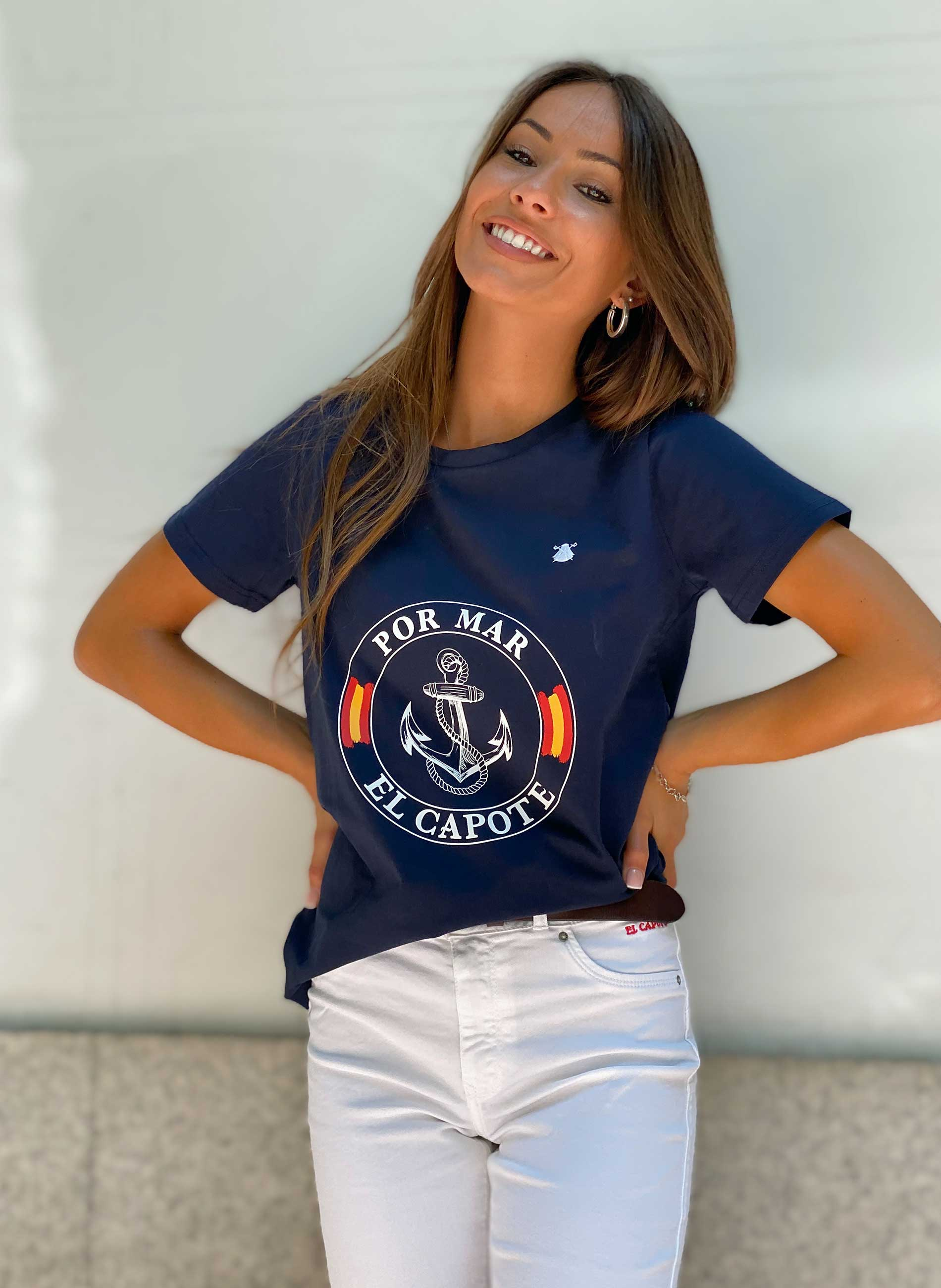 Navy Blue Woman T-Shirt Tribute to the Spanish Navy