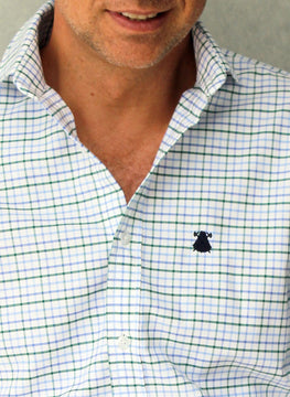 ITALIAN COLLAR SHIRT WITH BLUE AND GREEN PICTURES