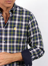 SHIRT MAN TARTAN GREEN NECKLINE BUTTON