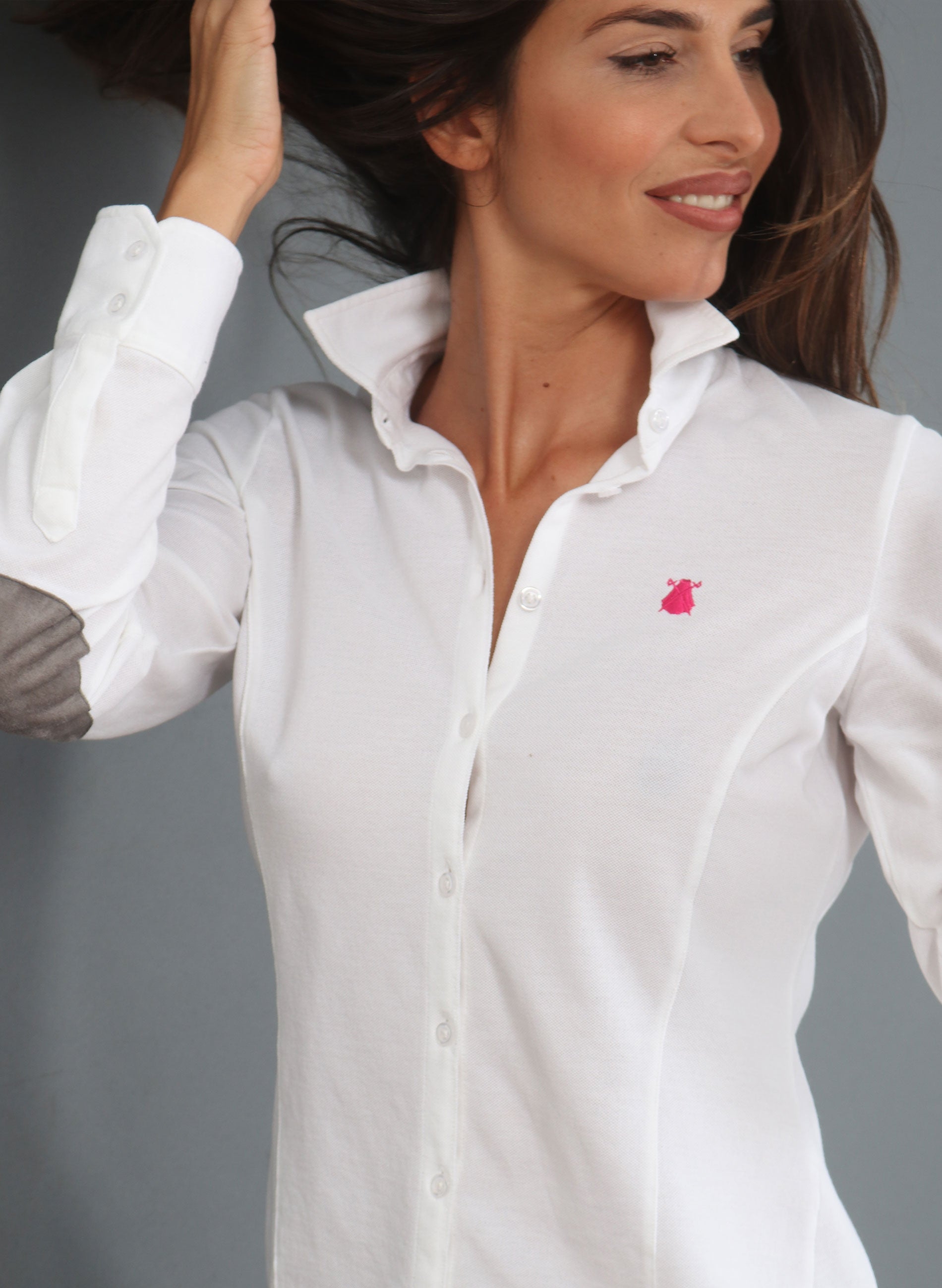 White Shirt Piqué Elbow Patches Woman