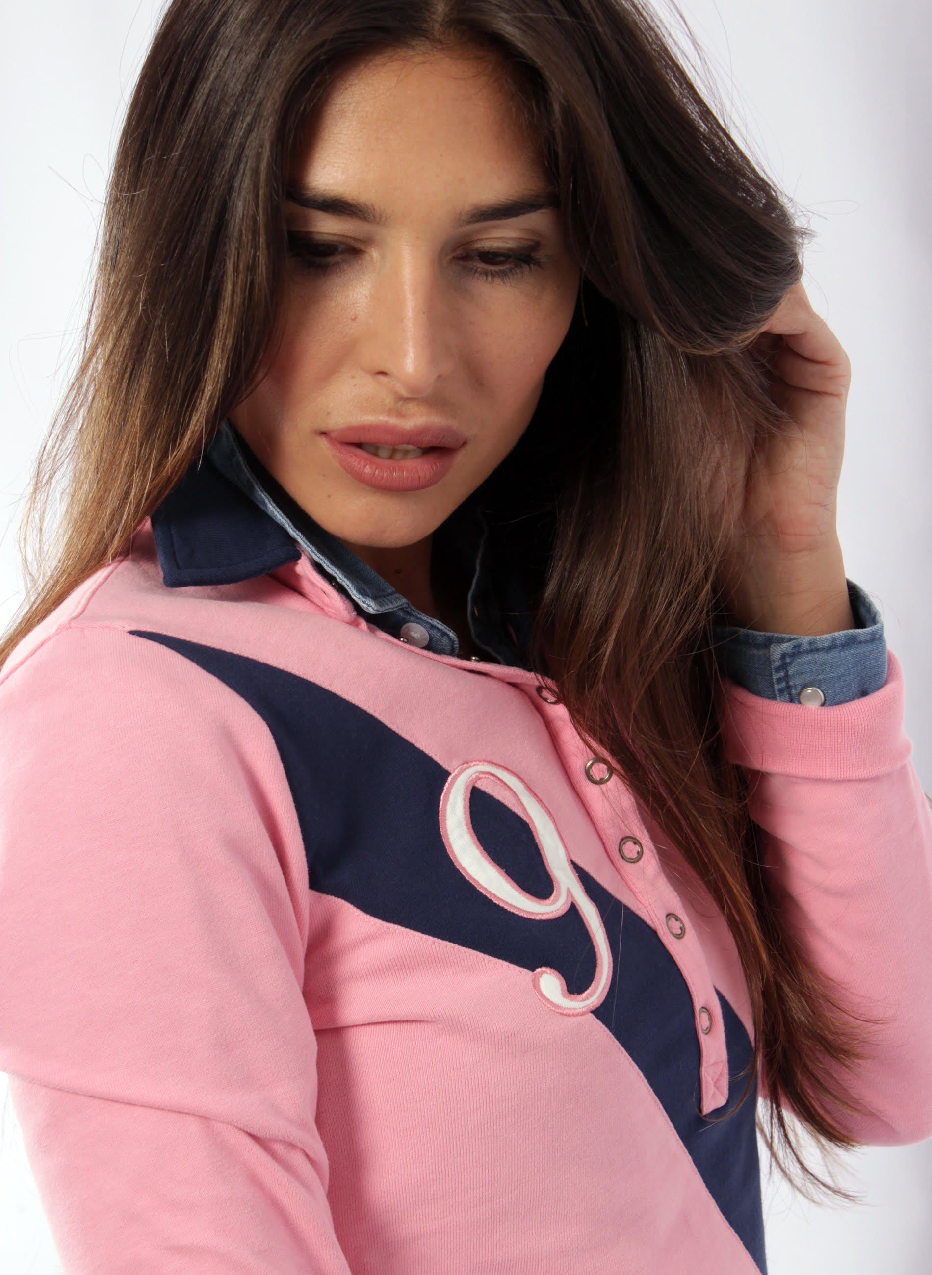 Polo Pink Stripe Marineblaue Frau