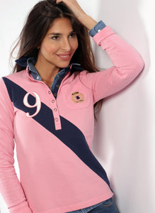 Polo Pink Stripe Navy Blue Woman