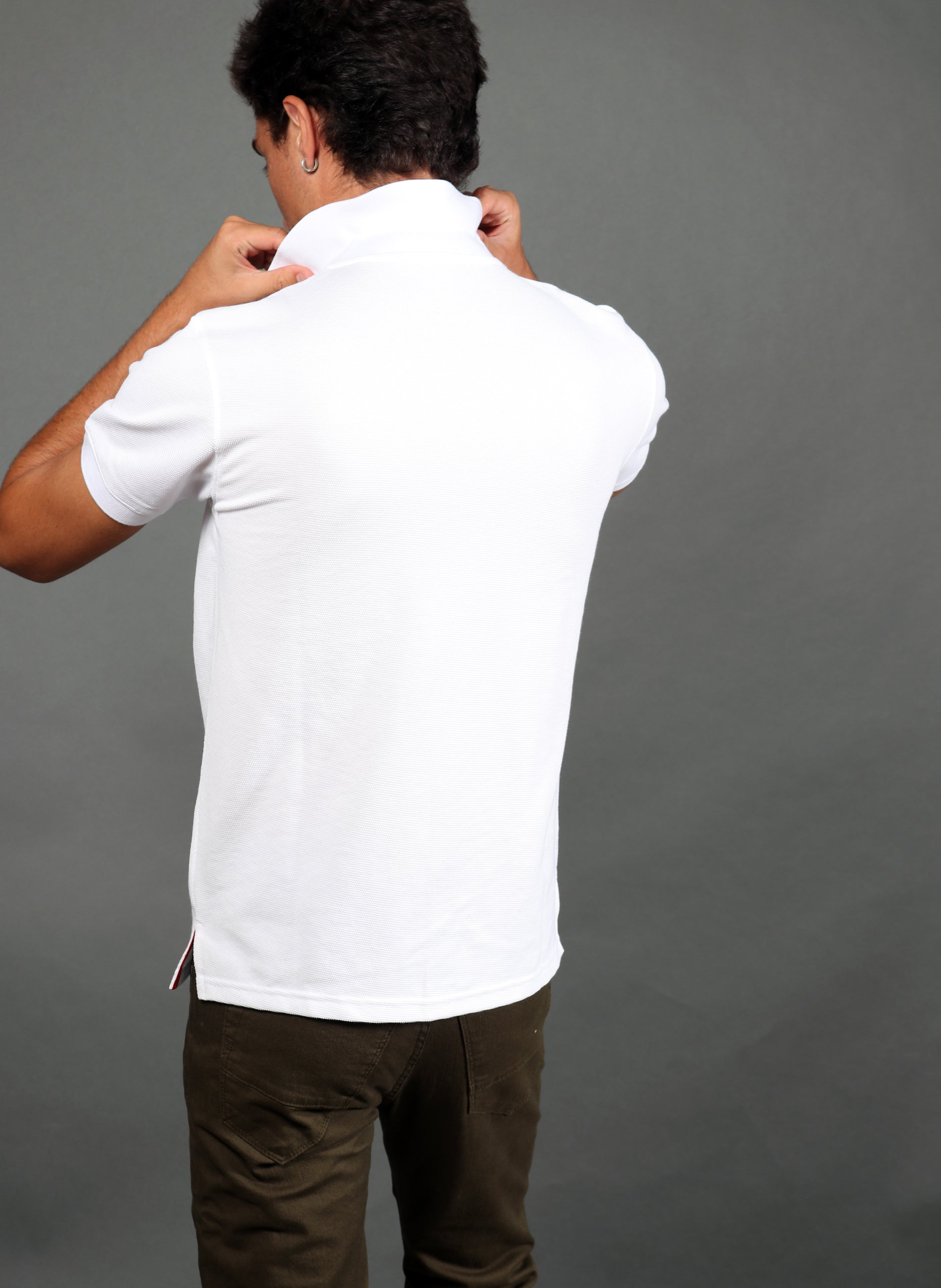 Men's White Granulated Polo Spain