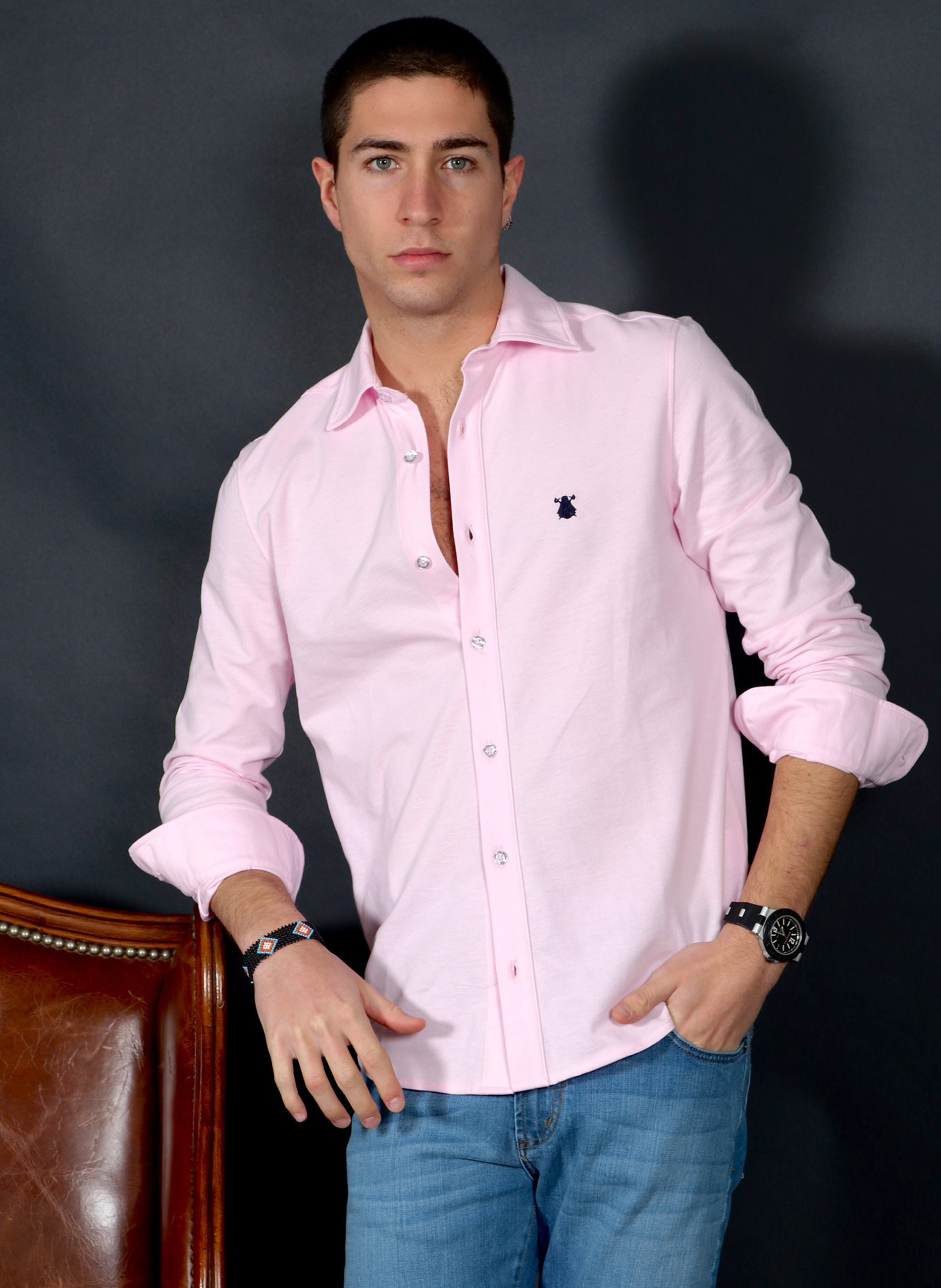Men's Pink Piqué Shirt