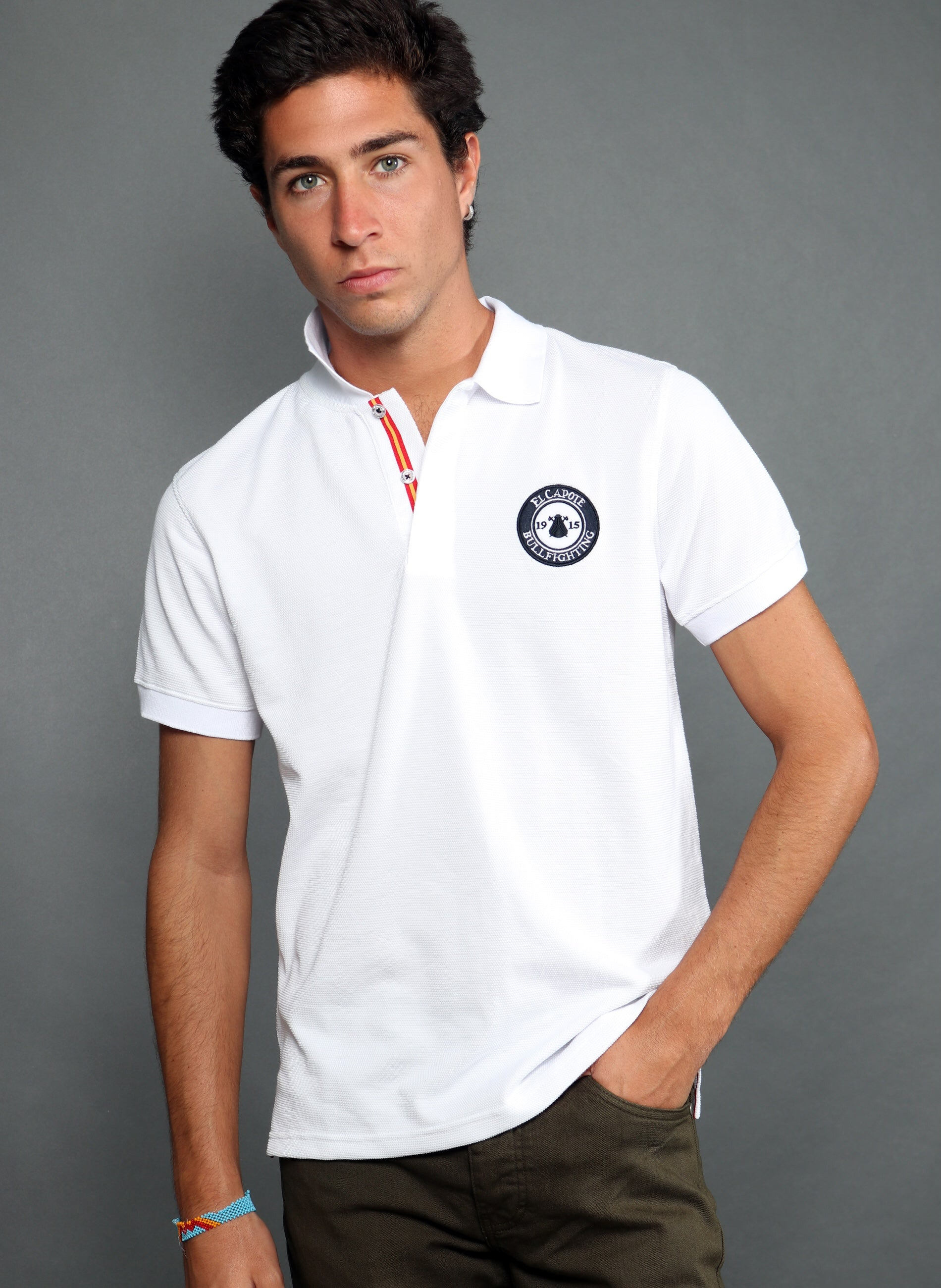 Herren White Granulated Polo Spanien