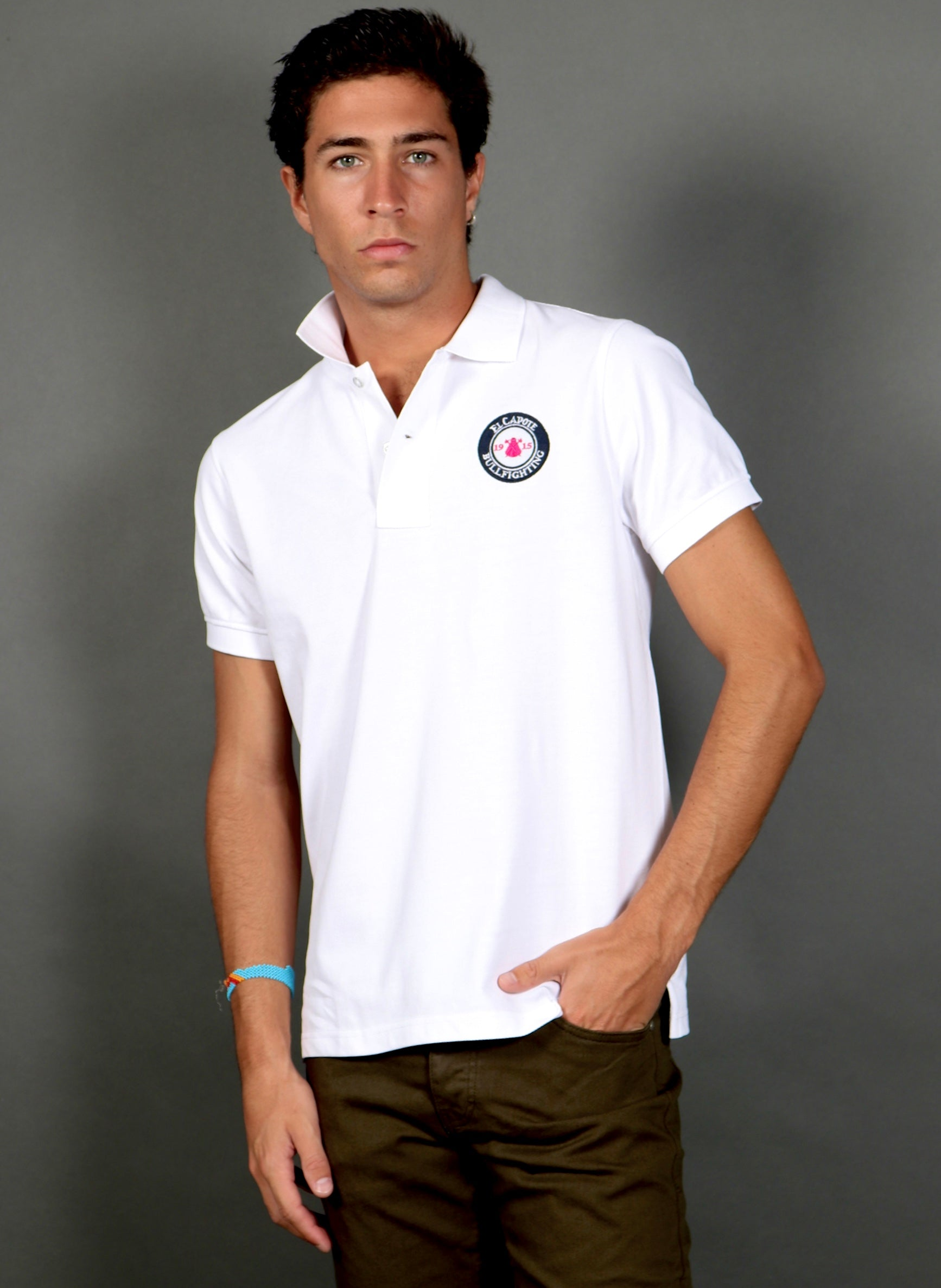 New Cool White Pink Men's Polo Shirt