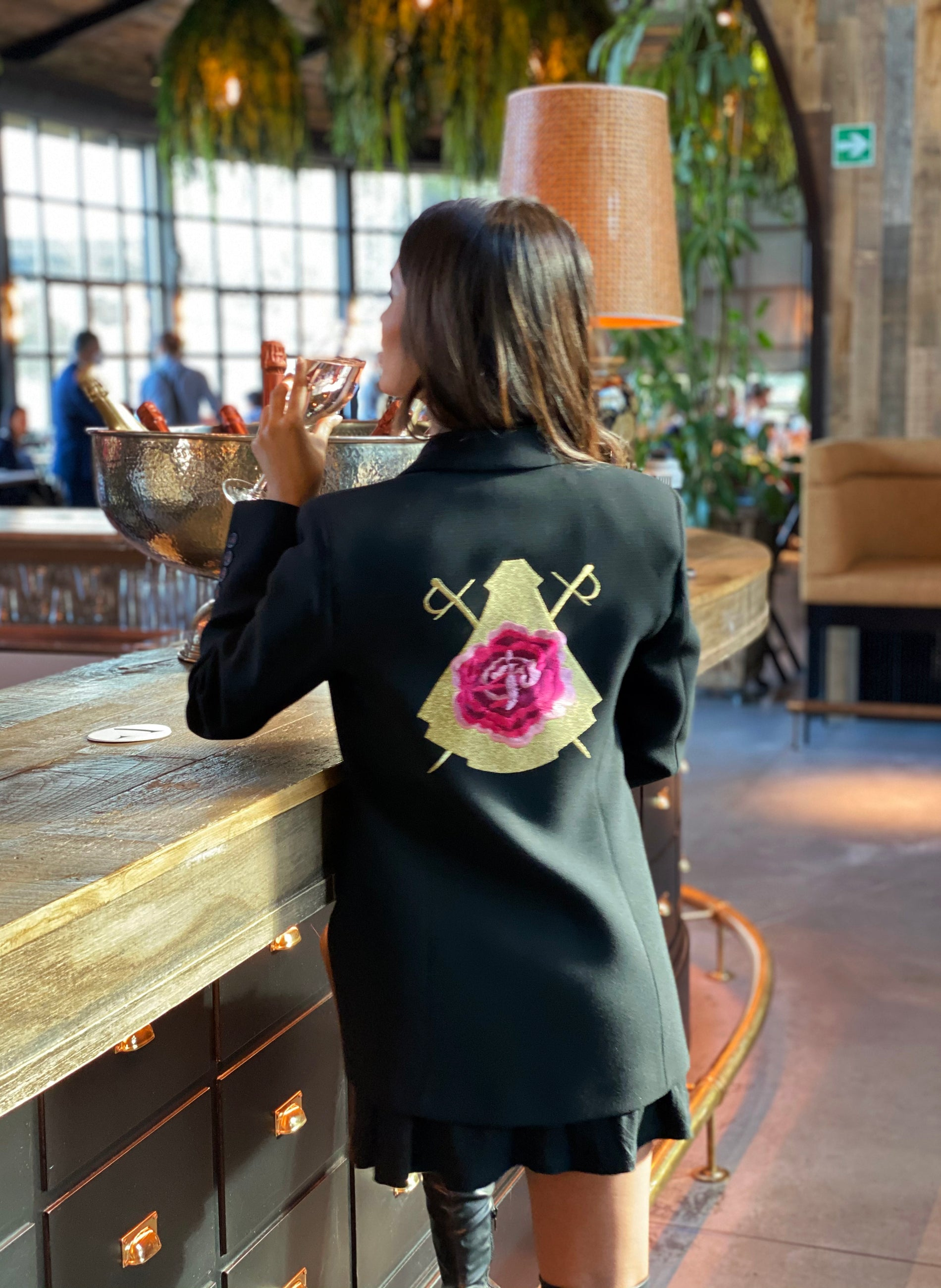 Black Double Breasted Blazer Woman Logo Back