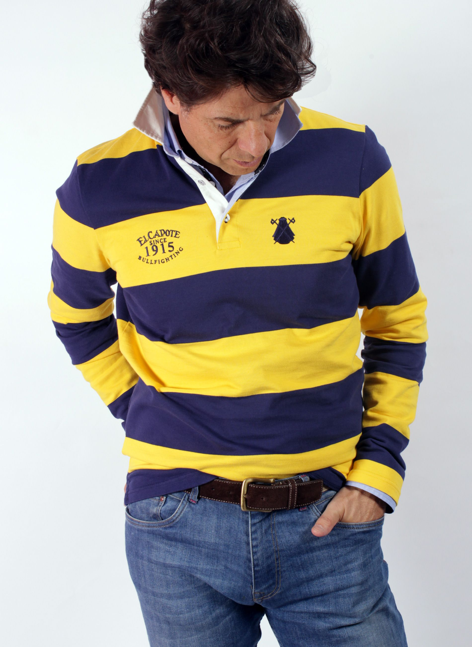 POLO MAN BLUE AND YELLOW STRIPES